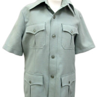 Image: light green buttoned shirt with four front pockets